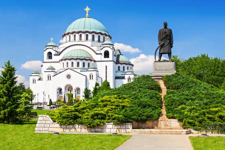 serb: St. Sava Cathedral and Karadjordje (Serbian political leader) statue, Belgrade