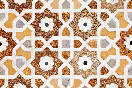 inlay: Detail of inlay and carvings decorating the Taj Mahal, Agra, India Stock Photo