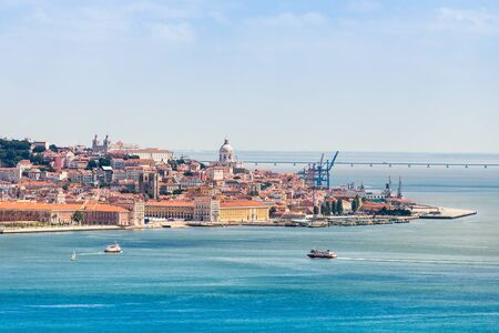 the tagus: Lisbon on the Tagus river bank, central Portugal