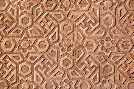 mughal empire: Geometrical pattern on Red Fort, Agra, India