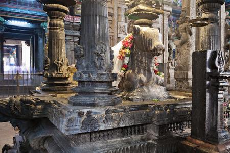 god's cow: MADURAI, INDIA - MARCH 22, 2012: Holy Bull monument inside Meenakshi Temple in Madurai, Tamil Nadu, India
