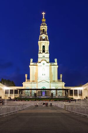 senhora: The Sanctuary of Fatima at the night, Fatima, Portugal Stock Photo
