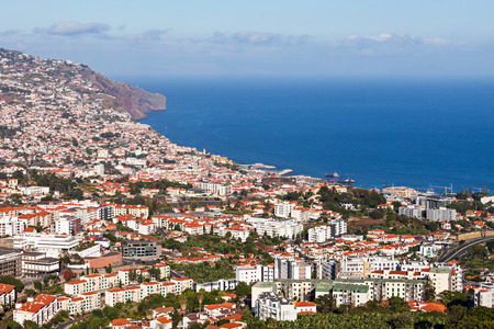 Funchal aerial view from Barcelos viewpoint, Madeira island, Portugal