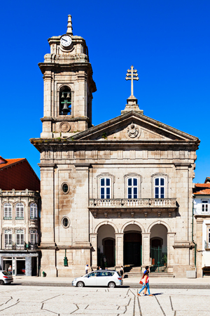 guimaraes: GUIMARAES, PORTUGAL - JULY 11: Toural Square (Largo do Toural) is one of the most central and important squares  on July 11, 2014 in Guimaraes, Portugal Stock Photo