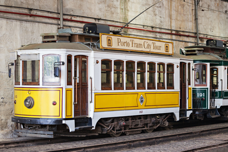 electrico: PORTO, PORTUGAL - JULY 02: Museu do Carro Electrico (Tram Museum) on July 02, 2014 in Porto, Portugal Editorial