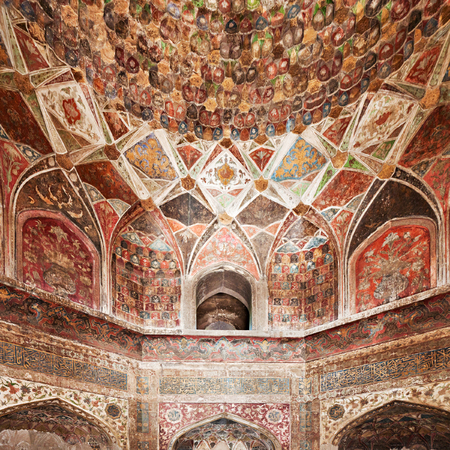 AGRA, INDIA - APRIL 09: Pattern on Taj Mahal on April 09, 2012 in Agra, India. Taj Mahal is widely recognized as the jewel of Muslim art and one of the universally masterpieces of the world