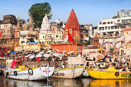 reincarnation: VARANASI, INDIA - APRIL 12: Boats at the river ganges on the auspicious Maha Shivaratri festival on April 12, 2012 at Dasashwamedh ghat in Varanasi, Uttar Pradesh, India