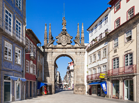 referred: BRAGA, PORTUGAL - JULY 11: The Arch of Rua Souto, commonly referred as the Arco da Porta Nova, an 18th-century ceremonial arch on July 11, 2014 in Braga, Portugal