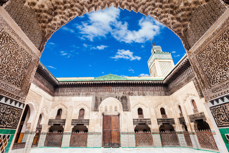 fes: The Medersa Bou Inania is a madrasa in Fes, Morocco. Medersa Bou Inania is acknowledged as an excellent example of Marinid architecture. Editorial