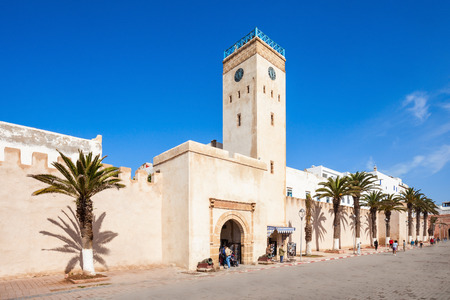 Medina entrance tower and old city walls in Essaouira, Morocco Editorial