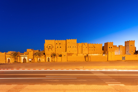 The Taourirt Kasbah in Ouarzazate in Morocco at night. Taourirt Casbah is one of the most impressive monuments in Morocco. Editorial