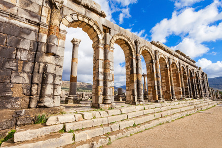 Volubilis near Meknes in Morocco. Volubilis is a ruined Amazigh, then Roman city in Morocco near Mekne