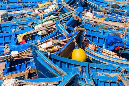 Traditional fishing boats in Essaouira. Essaouira is a city in the western Moroccan region on the Atlantic coast.