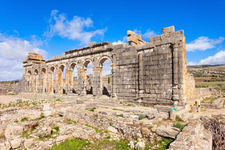 volubilis: Volubilis near Meknes in Morocco. Volubilis is a ruined Amazigh, then Roman city in Morocco near Meknes Stock Photo