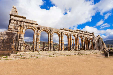 Volubilis near Meknes in Morocco. Volubilis is a partly excavated Amazigh, then Roman city in Morocco situated near Meknes, the ancient capital of the kingdom of Mauritania.