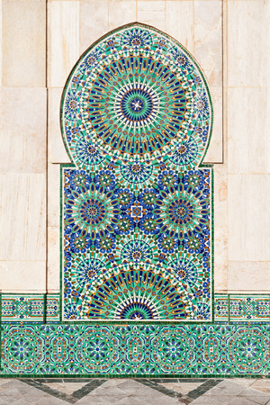 Hassan II Mosque exterior pattern in Casablanca, Morocco. Beauty tile design moroccan style.
