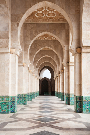 Design elements of the Hassan II Mosque in Casablanca, Morocco. Hassan II Mosque is the 7-th largest mosque in the world.