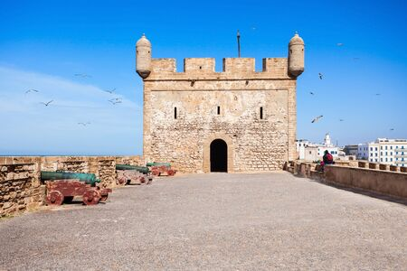 skala: Skala du Port fortifications in Essaouira, Morocco. Essaouira is a city in the western Moroccan region on the Atlantic coast.