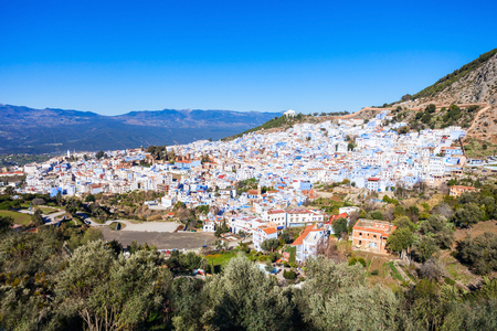 Chefchaouen aerial panoramic view, Morocco. Chefchaouen is a city in northwest Morocco. Chefchaouen is noted for its buildings in shades of blue.