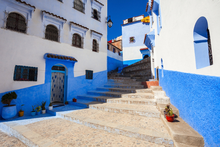 noted: Traditional blue berber houses in Chefchaouen, Morocco. Chefchaouen is a city in northwest Morocco. Chefchaouen is noted for its buildings in shades of blue.
