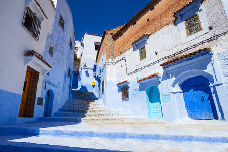 Traditional blue berber houses in Chefchaouen, Morocco. Chefchaouen is a city in northwest Morocco. Chefchaouen is noted for its buildings in shades of blue.