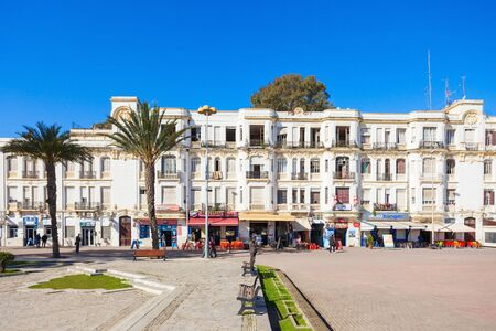 TANGIER, MOROCCO - MARCH 02, 2016: Tangier city center in Morocco. Tangier located on the North African coast at the western entrance to the Strait of Gibraltar.