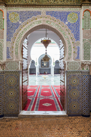 fes: FES, MOROCCO - FEBRUARY 27, 2016: Interior of Al Quaraouiyine (or al-Qarawiyyin) Mosque and university in Fes, Morocco. Editorial
