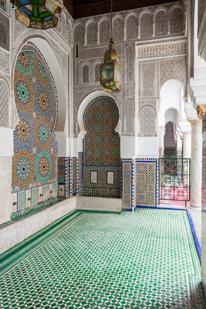 fes: FES, MOROCCO - FEBRUARY 27, 2016: Pattern design element of Al Quaraouiyine Mosque and University in Fes, Morocco.