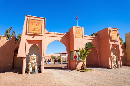 OUARZAZATE, MOROCCO - FEBRUARY 24, 2016: Ouarzazate Atlas Film Studios in Morocco. Moroccan Atlas Studios is one of the largest movie studios in the world.