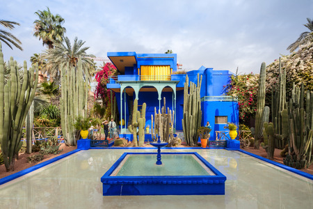 MARRAKECH, MOROCCO - FEBRUARY 22, 2016: The Majorelle Garden is a botanical garden and artist's landscape garden in Marrakech, Morocco.