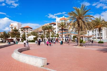 AGADIR, MOROCCO - FEBRUARY 21, 2016: Agadir seafront promenade in Morocco. Agadir is a major city in Morocco located on the shore of the Atlantic Ocean.
