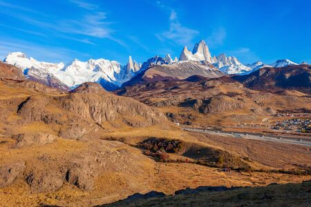 cerro fitzroy: Fitz Roy mountain panoramic view. Fitz Roy is a mountain located near El Chalten village in the Southern Patagonia on the border between Chile and Argentina.