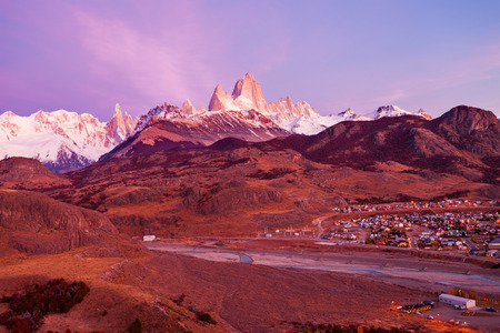 Fitz Roy sunrise view. Fitz Roy is a mountain near El Chalten in Patagonia, on the border between Argentina and Chile. Stock Photo