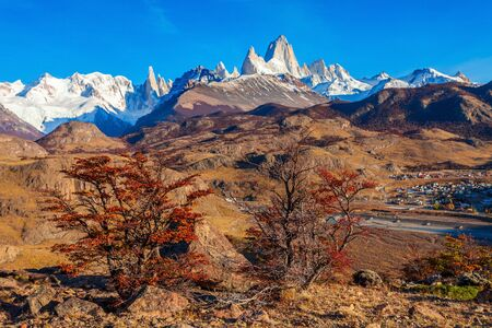 chalten: Monte Fitz Roy (also known as Cerro Chalten) aerial view. Fitz Roy is a mountain located near El Chalten, in the Southern Patagonia, on the border between Argentina and Chile.