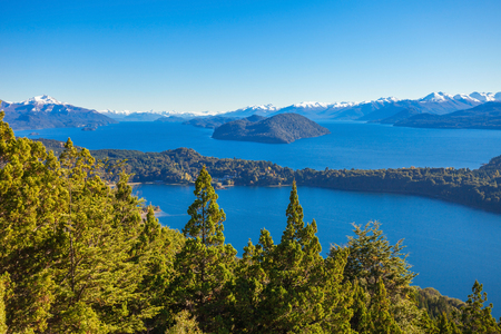 Nahuel Huapi National Park aerial view from the Cerro Campanario viewpoint in Bariloche, Patagonia region in Argentina. Stock Photo