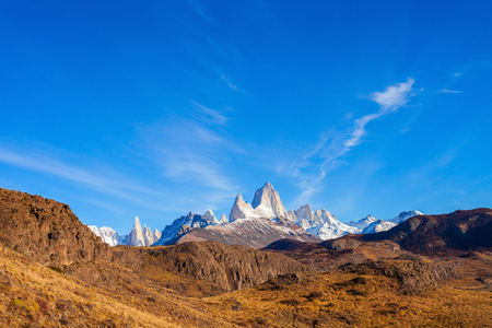 chalten: Fitz Roy mountain panoramic view. Fitz Roy is a mountain located near El Chalten village in the Southern Patagonia on the border between Chile and Argentina.