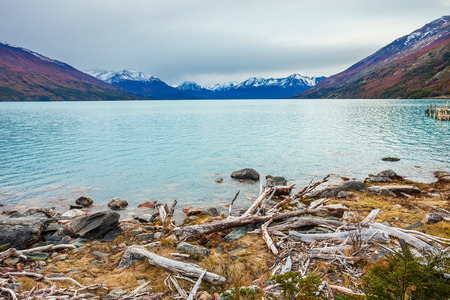 Landscape near the Perito Moreno Glacier in Patagonia, Argentina. Its one of the most important tourist attractions in the Argentinian Patagonia. Stock Photo