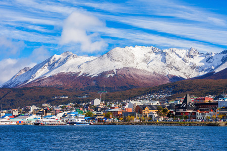 Ushuaia aerial view. Ushuaia is the capital of Tierra del Fuego province in Argentina. Фото со стока