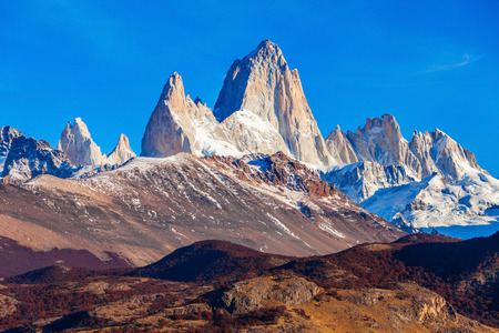 Fitz Roy mountain close up view. Fitz Roy is a mountain located near El Chalten village in the Southern Patagonia on the border between Chile and Argentina.