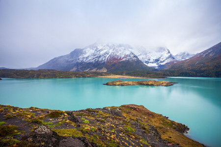 Torres del Paine National Park aerial panoramic view. Torres del Paine is a national park encompassing mountains, glaciers, lakes, and rivers in southern Patagonia, Chile. Stock Photo