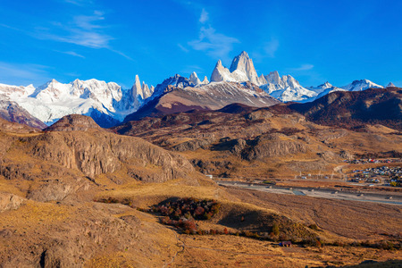 cerro chalten: Fitz Roy mountain aerial view. Fitz Roy is a mountain located near El Chalten village in the Southern Patagonia on the border between Chile and Argentina.