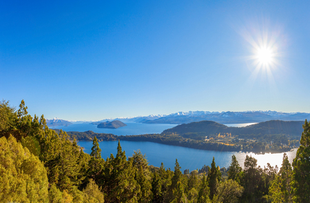 Nahuel Huapi National Park panoramic view from Cerro Campanario viewpoint in Bariloche, Patagonia region in Argentina.