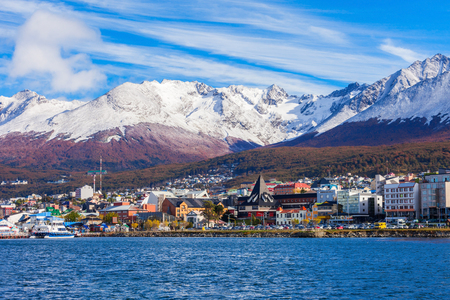 Ushuaia aerial view. Ushuaia is the capital of Tierra del Fuego province in Argentina. Stockfoto