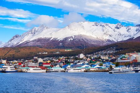 fuego: Ushuaia aerial view. Ushuaia is the capital of Tierra del Fuego province in Argentina. Stock Photo