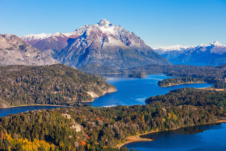 mount tronador: Nahuel Huapi National Park aerial view from the Cerro Campanario viewpoint in Bariloche, Patagonia region in Argentina. Stock Photo