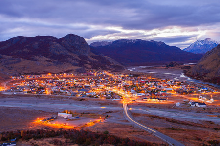 cerro fitzroy: El Chalten town aerial panoramic view at night. El Chalten located in Patagonia in Argentina.
