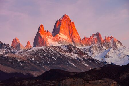 chalten: Fitz Roy close up sunrise view. Fitz Roy is a mountain located near El Chalten, in the Southern Patagonia, on the border between Argentina and Chile.