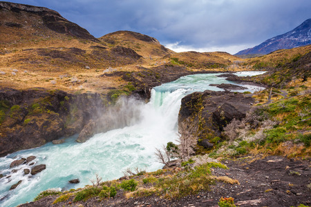 The Salto Grande is a waterfall on the Paine River, after the Nordenskjold Lake, within the Torres del Paine National Park in Chile