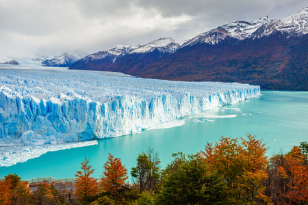 The Perito Moreno Glacier is a glacier located in the Los Glaciares National Park in Santa Cruz Province, Argentina. Its one of the most important tourist attractions in the Argentinian Patagonia. Stock Photo