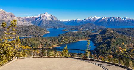 lake nahuel huapi: Cerro Campanario viewpoint near Bariloche in Nahuel Huapi National Park, Patagonia region in Argentina. Stock Photo